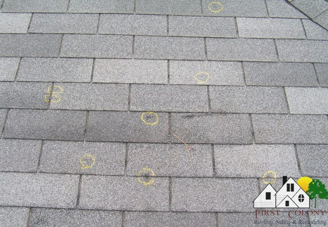 Hail damage roofs